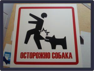 Табличка «Осторожно собака» 03.10.2018 г.